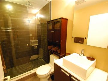 Walk-in rain shower, personal toiletries, hair dryer and more