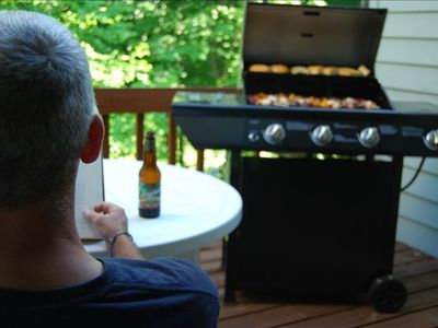 Relax on the deck while dinner sizzles on the grill.