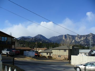 View of Lumpy Ridge and Twin Sisters in our quiet neighborhood, close to town.