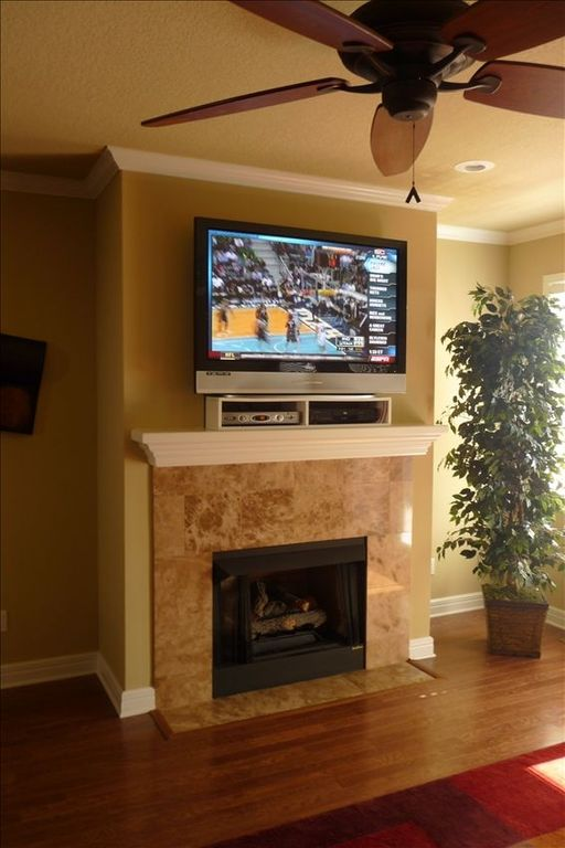 Fireplace and BIG Screen TV!