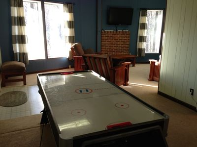 Rec room has a 42' HDTV, Apple TV, and mini air hockey/pool table
