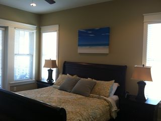 Inlet Beach townhome photo - Second floor west king master bedroom with private bath and balcony
