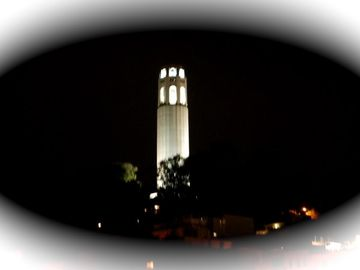 Coit Tower at night from the roof