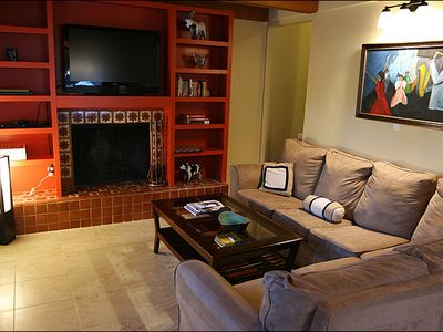 Main Living Area - Flat-Screen TV, Wood Fireplace, Deck