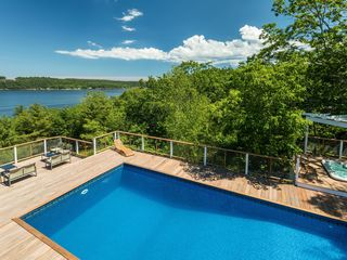 Phippsburg estate rental new heated pool deck and hot for Deck gets too hot