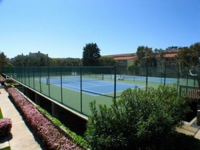 The tennis courts were recently resurfaced