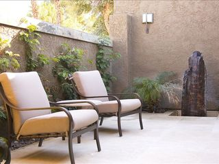Rancho Mirage villa photo - private travertine entry courtyard with fountain