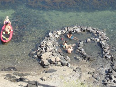 A hot spring feeds your private hot tub.