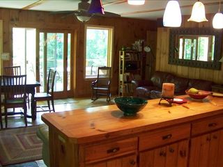 Woodstock cabin photo - Our Great Room with 2 sofas, dining area & kitchen