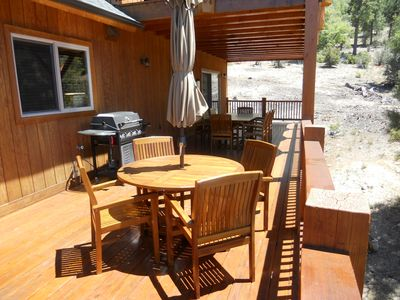 Big Bear Lake cabin rental - Rear Deck - Teak tables for seating 8-12 and large gas BBQ