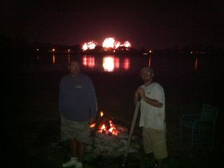 camp fire and Disney fireworks, every night