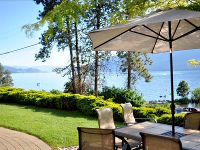 outdoor patio with 180' south/ west view of Okanagan Lake
