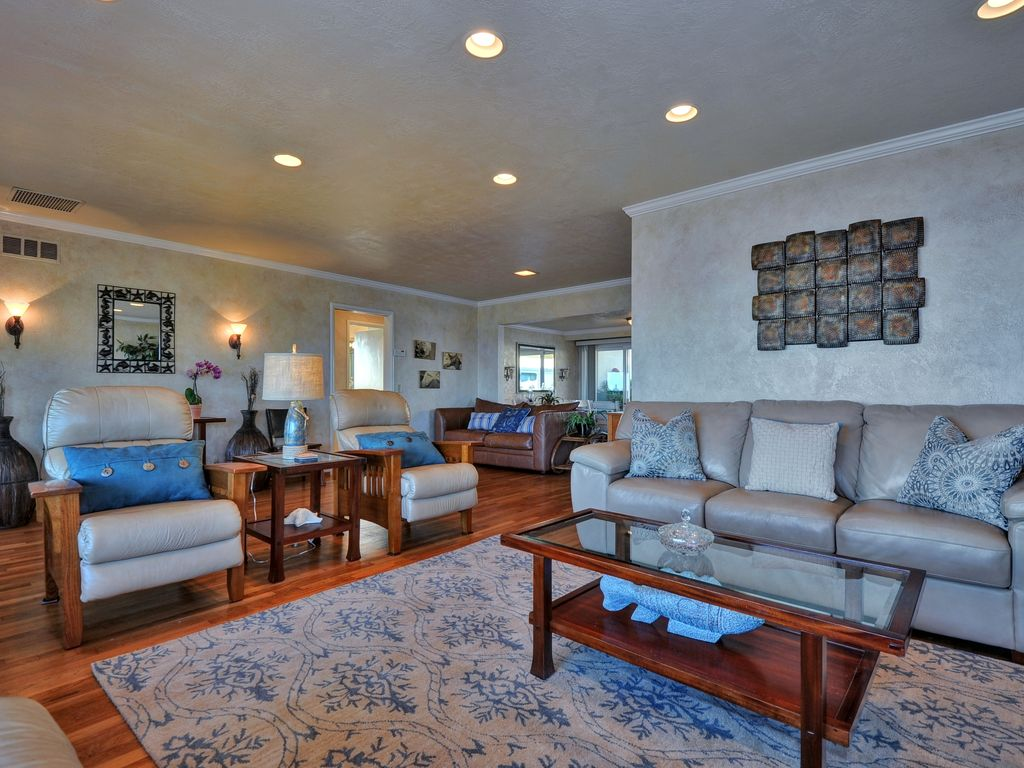 """Living Area with 42"""" flat panel TV."""