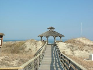 Corolla house photo - Gazebo and boardwalk from ocean side pools to the beach.