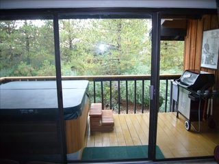 Steamboat Springs townhome photo - Marquis Hot Tub Spa seats 4, private deck, and Weber Grill
