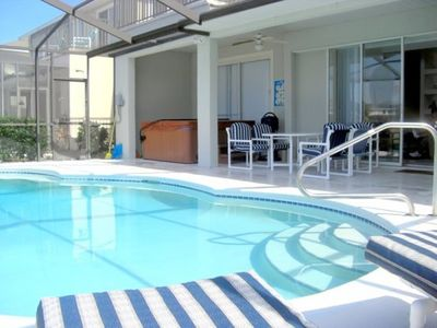 Easy access pool handrail and lanai