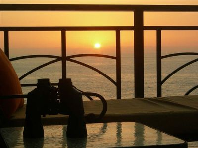 Enjoy sunsets from the patio.