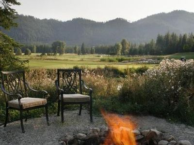 Fire pit by the pond looking at the 4th green.