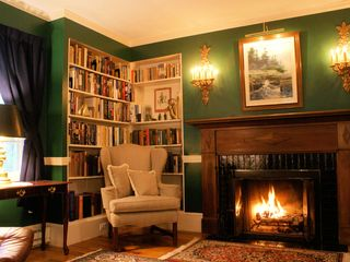 3 fireplaces: this library, and master bedroom and living room - Bar Harbor estate vacation rental photo