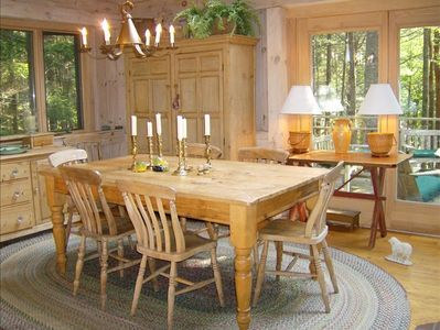 Dining room w/skylights and fr. door to deck-Acadia Coastal maine vacation home