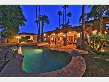 Palm Springs house rental - Back of Home & Pool at Night
