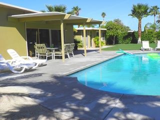 Palm Springs house photo - Dining, Many Lounging Areas Poolside in Fully Enclosed Private Backyard.