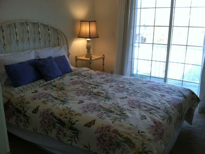 Broadkill Beach house rental - 2nd floor queen bedroom with sliding door to balcony