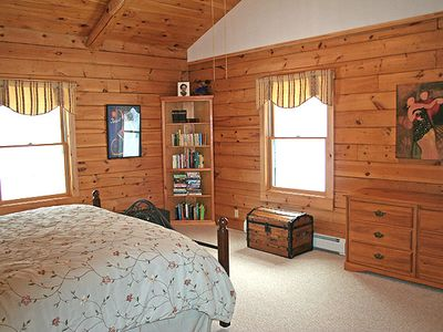 Landaff house rental - Master Bedroom Suite with King Bed, New Hampshire Log Home
