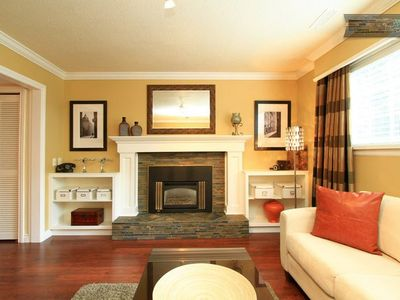 Designer space, cozy gas fireplace