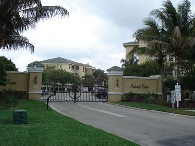 Gated entrance behind Coral Cove complex.