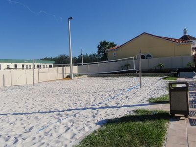 Enjoy a game of volleyball in the sand