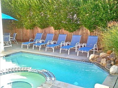 Backyard with Bluestone Patio, Table & 4 Chairs, Grill & Pool/Spa/Waterfall