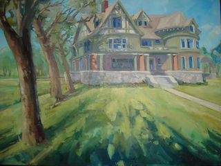 Bozeman house photo - 'En Plein Air' Story Mansion original oil