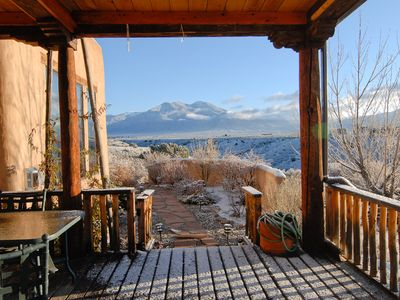 Covered Deck. Taos Mountain. Garden Path To Hot Tub. Access From Dining Room.