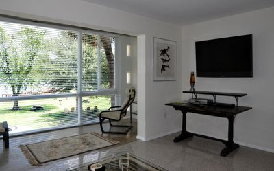 Winter Park condo rental - Living room with patio. Big screen TV.