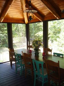 Eagle River house rental - Camp table in screen porch