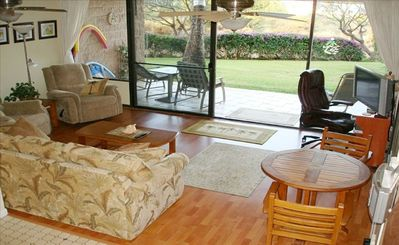 Kihei condo rental - Living area, with secluded lanai and private yard