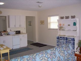 Redington Shores cottage photo - Living room and kitchen complete with flat screen