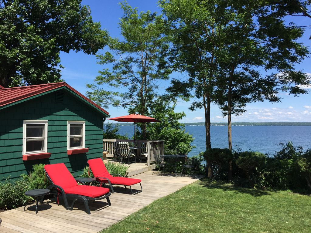 Quiet and cozy cabin with 165 ft of private vrbo for Seneca lake ohio cabins