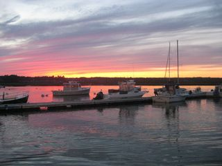 Wells townhome photo - Marina and sunset over Wells Harbor across the street from our house.