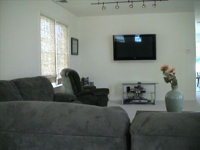 Large Living Room with comfy Couch, 50 Inch Plasma, Internet / Cable Services