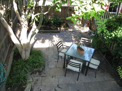 Our patio / parking area