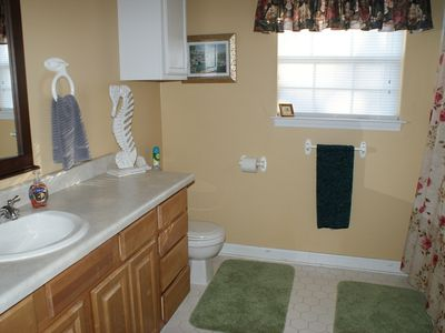Large Bath Room. Has handicap bar in bath/shower.