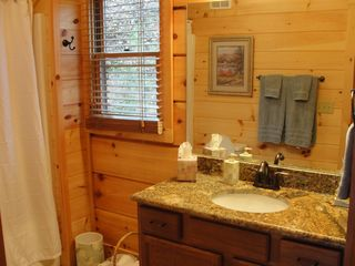 Lake Lure cabin photo - First floor bathroom with tub/shower and granite vanity