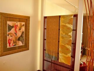Waikiki condo photo - Entrance with display of fine Asian fabrics---featured throughout the apartment