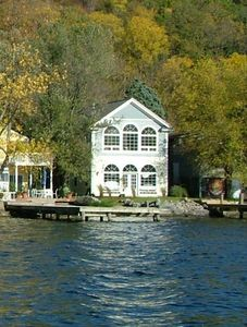Lakefront side of house with dock.