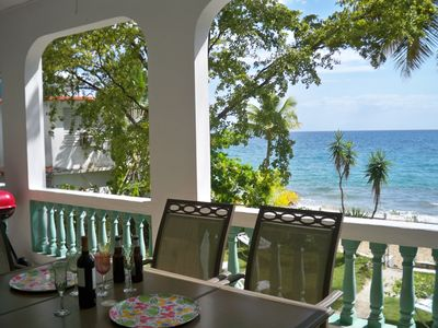 Rincon house rental - Our Porch with a Fabulous View of the backyard and beach