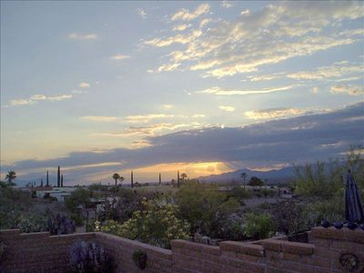 Green Valley townhome rental - Picture taken from your back patio of the sunrise over the Santa Rita mountains
