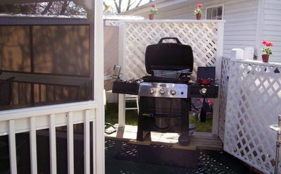 Branson West house rental - Gazebo area with gas grill