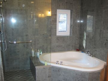 Bathroom attached to master 1. Jacuzzi tub and separate shower.